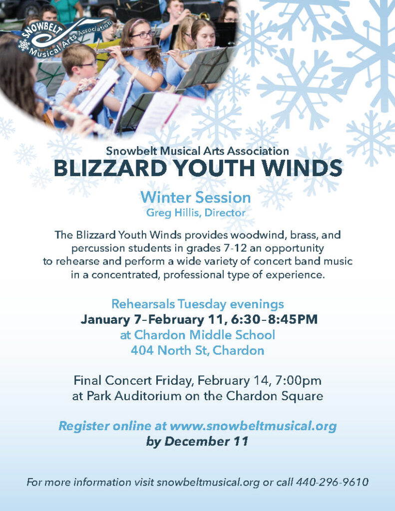 Blizzard Youth Winds concert band registration flyer